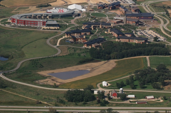 An aerial view of the Epic Campus in Verona, Wisconsin