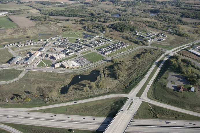 An aerial view of Smith's Crossing in Madison, WI